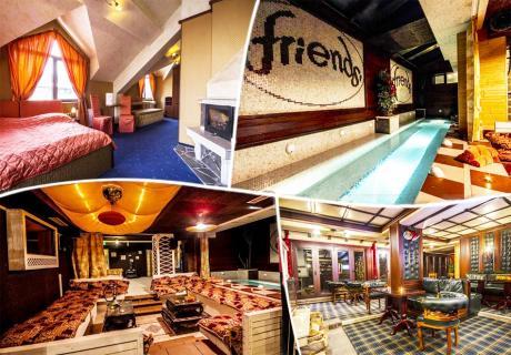 Нощувка със закуска на човек + голямо джакузи и релакс пакет в хотел Френдс, Банско