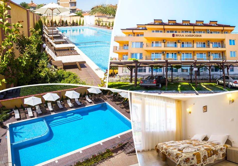 Нощувка на човек със закуска, обяд и вечеря + басейн, релакс пакет и масаж в Хотел Вила Амброзия, Черноморец