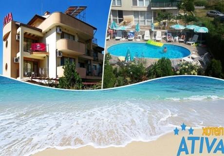 3 нощувки на човек със закуски, обедиивечери + басейн в хотел Атива, Лозенец, на 60м. от плажа!