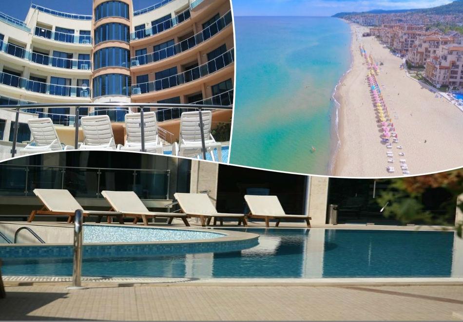 Лято в хотел Аквамарин,  Обзор - на 100 м. от плажа! Нощувка на човек със закуска  + басейн, чадър и шезлонг на плажа
