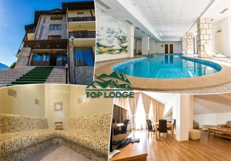 Нощувка до 8 човека в апартамент + вътрешен басейн в хотел Топ Лодж, Банско