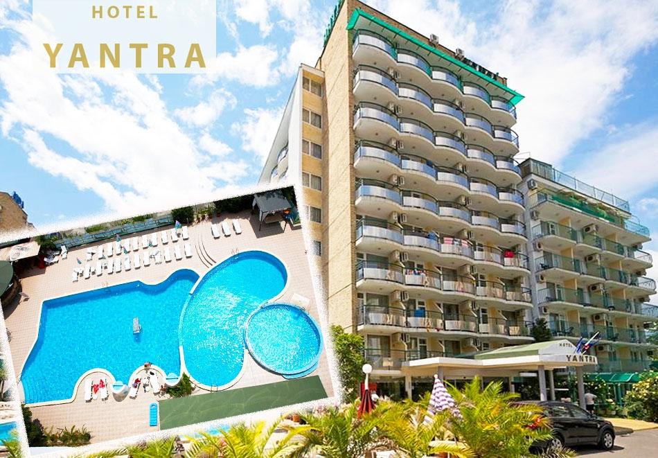Нощувка на човек със закуска или закуска и вечеря + басейн в хотел Янтра, Слънчев бряг, на 200 м. от плажа