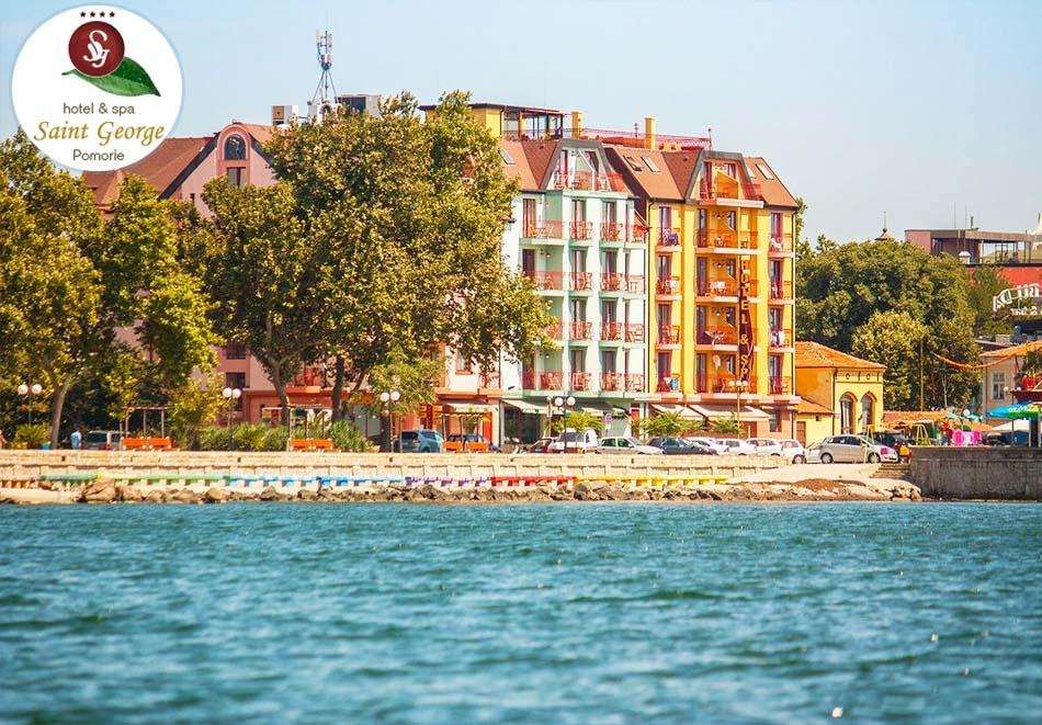 Ранни записвания за лято 2019 на 1-ва линия в Поморие! 3+ нощувки за двама със закуски, басейн, СПА пакет и 1 процедура в хотел Сейнт Джордж****