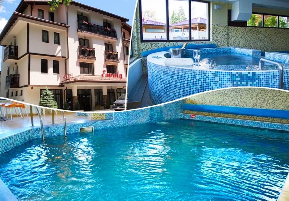 Нощувка на човек със закуска, обяд и вечеря + минерален басейн и релакс зона в Семеен хотел Емали, Сапарева Баня