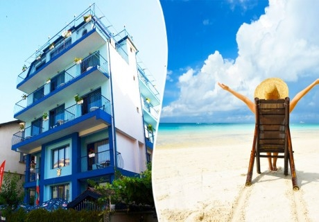 Лято 2020 на 50 м. от северния плаж в Приморско! Нощувка със закуска и вечеря в хотел Синя Лагуна