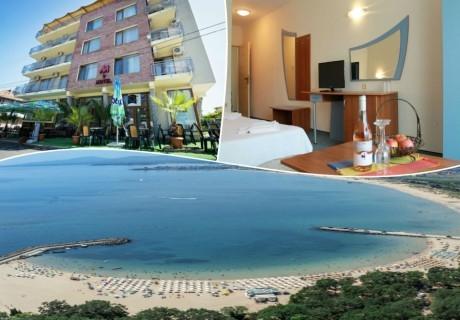 Нощувка на човек на база All inclusive + басейн в семеен хотел М2, Приморско! Дете до 12г. - БЕЗПЛАТНО!