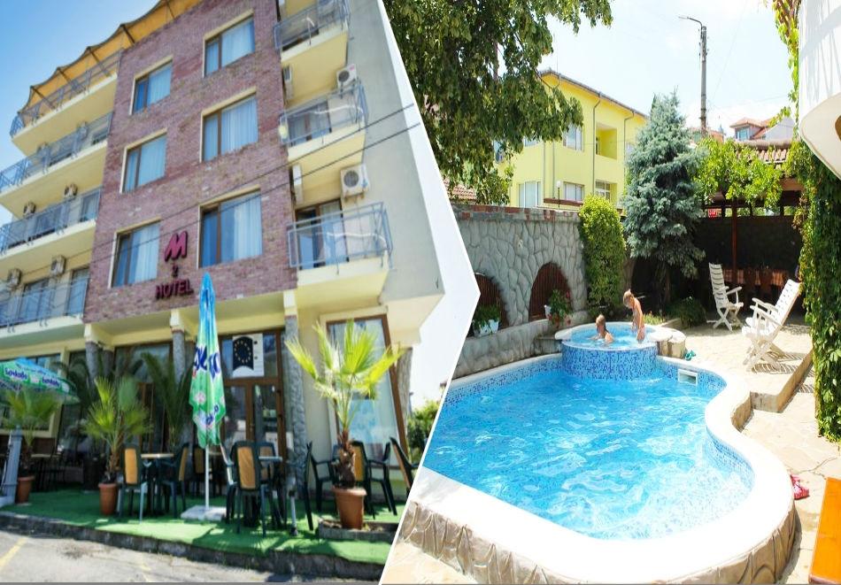 Нощувка на човек със закуска, обяд и вечеря + басейн в семеен хотел М2, Приморско
