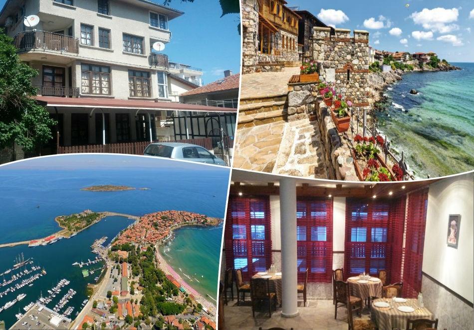 Късно лято! Нощувка на човек със закуска и вечеря по избор + напитки и басейн в семеен хотел Слънце VIP зона, на 100 м. от плажа в Созопол