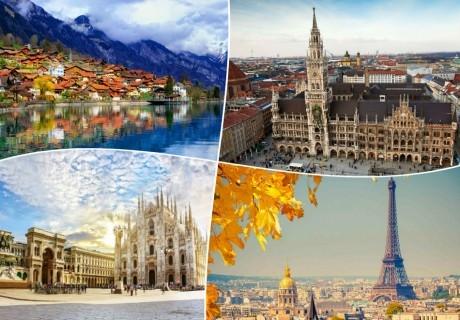 Екскурзия до Австрия, Германия, Франция, Швейцария и Италия! Транспорт, 8 нощувки на човек със закуски от ТА БОЛГЕРИАН ХОЛИДЕЙС КИТЕН