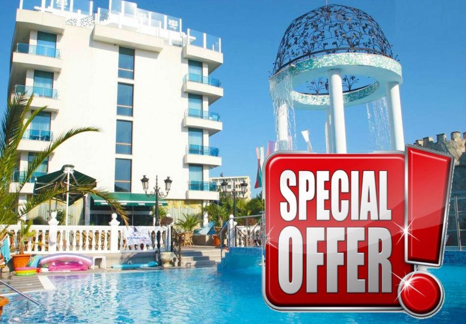 Късно лято в Китен на ТОП ЦЕНА! Нощувка на човек + басейн в хотел Китен Бийч, на 200 м. от плажа в Китен