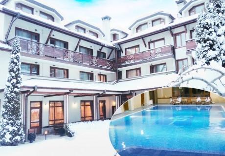 На ски в Банско! Нощувка на човек със закуска и вечеря + басейн и сауна в хотел Евелина Палас****