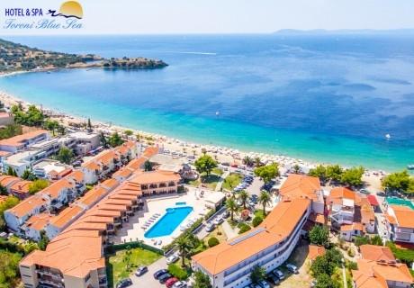 Лято 2020г. на първа линия в Toroni Blue Sea Hotel & Spa*** в Торони,Халкидики- Гърция! Нощувка на човек със закуска и вечеря + басейн