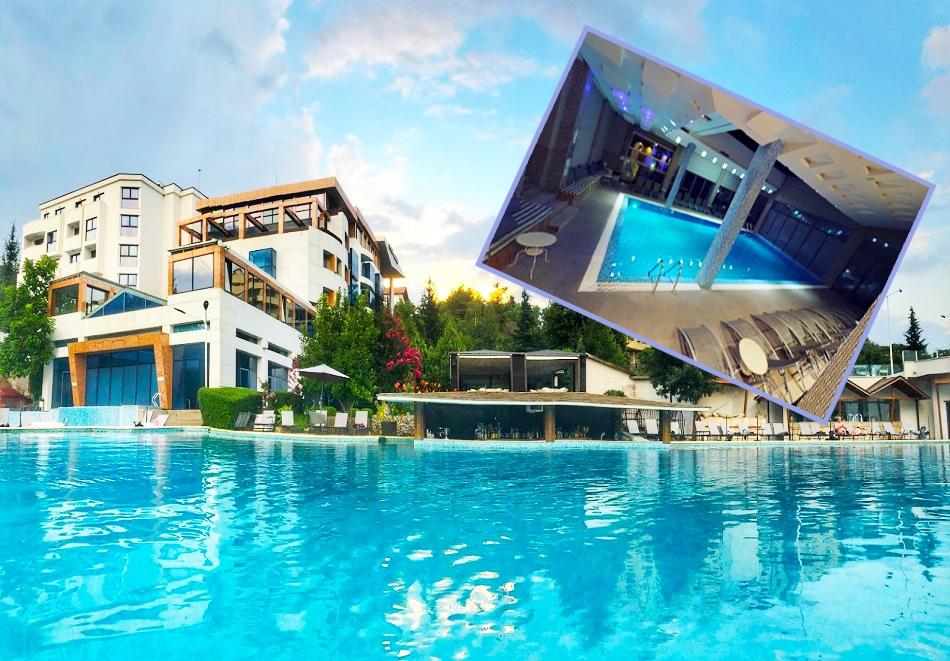 Нощувка на човек със закуска и вечеря + 2 МИНЕРАЛНИ басейна и СПА пакет в хотел Медите СПА Резорт*****, Сандански