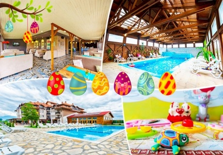 Великден в село Баня до Банско. 3 или 4 нощувки на човек със закуски и вечери, едната празнична + минерален басейн и релакс пакет в хотел Севън Сийзънс