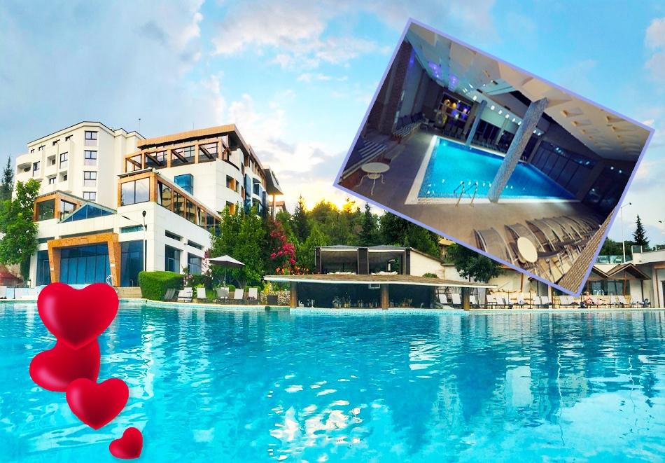 Свети Валентин в хотел Медите СПА Резорт*****, Сандански! 2 нощувки за двама със закуски и 2 романтични вечери + масаж за двама + МИНЕРАЛЕН басейн и СПА пакет