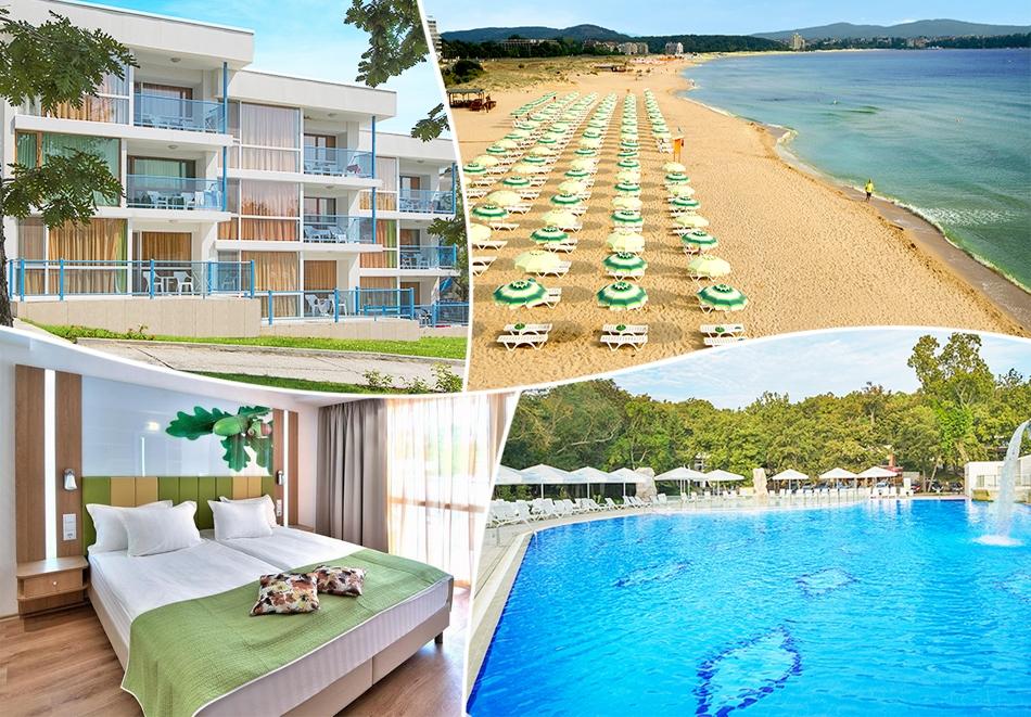 LAST MINUTE в хотел Форест Бийч**** Приморско! Нощувка на човек на база All Inclusive, басейн, шезлонг и чадър на плажа