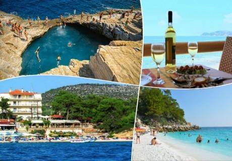 За Майските празници на остров Тасос, Гърция! 3 нощувки на човек със закуски и вечери + транспорт от  ТА Албатрос Турс