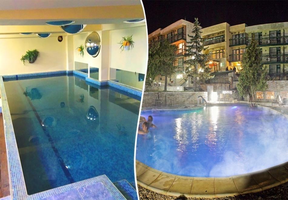 Нощувка със закуска за ДВАМА + външен и вътрешен басейн с гореща минерална вода и сауна от хотел Виталис, Пчелински бани, до Костенец