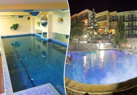 1, 3 или 5 нощувки за ДВАМА със закуски + външен и вътрешен басейн с гореща минерална вода и сауна от хотел Виталис, Пчелински бани, до Костенец