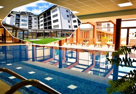 Нощувка на човек със закуска или закуска и вечеря по избор + басейн и релакс център в хотел Роял Банско Апартмънтс, Банско