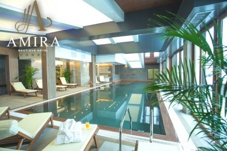 Нощувка на човек със закуска и вечеря* + басейн и релакс зона в хотел резиденс Амира*****, Банско. Дете до 13г. - БЕЗПЛАТНО!