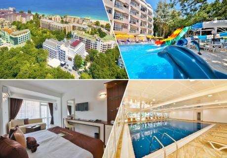 Нощувка на човек със закуска + 5 басейна и 2 аквапарка от хотел Престиж Делукс Хотел Аквапарк Клуб****, Златни пясъци