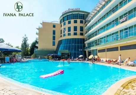 Нощувка на човек със закуска + басейн от хотел Ивана Палас****, Слънчев Бряг