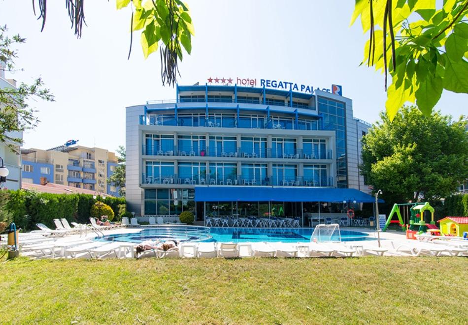 Нощувка на човек със закуска + басейн от хотел Регата палас****, до Какао бийч, Слънчев бряг