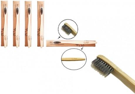 4 броя бамбукови четки за зъби с активен въглен от онлайн магазин bambinature.com