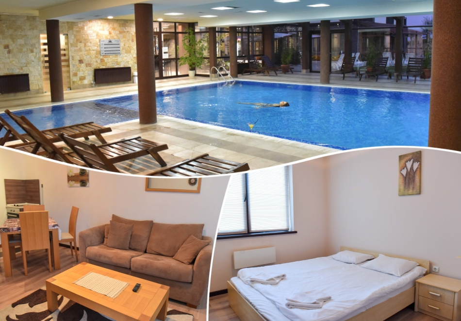 Зима в Банско! 1, 3, 4, 5, 6 или 7 нощувки на човек със закуски + отопляем вътрешен басейн и релакс зона от хотел Роял Банско Апартмънтс