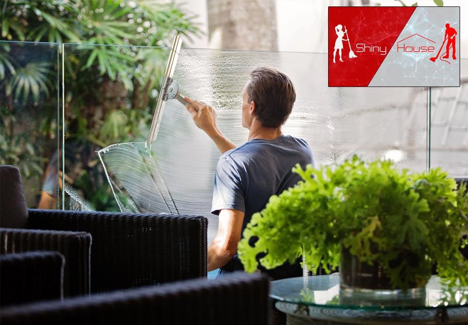 Двустранно почистване на прозорци, дограми и уплътнения на дом или офис до 120кв.м, от Шайни Хаус, София
