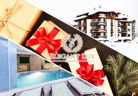 Коледа в хотел Елегант Лукс, Банско! 3 нощувки на човек със закуски, 2 вечери и 1 обяд + топъл вътрешен басейн и релакс пакет. Доплащане по желание за Коледна вечеря