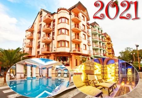 Нова година в Поморие! 3 или 4 нощувки на човек със закуски и празнична вечеря + басейн и СПА в хотел Сейнт Джордж****, на 1-ва линия в Поморие