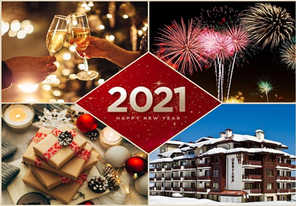 Нова година в Банско! 4 или 6 нощувки на човек със закуски и вечери, едната празнична + басейн в хотел Орбилукс***, Банско
