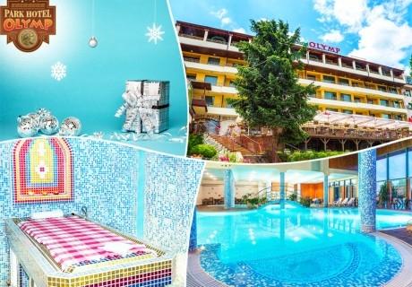 Коледа във Велинград! 3 или 4 нощувки на човек, закуски и вечери, едната Празнична + минерален басейн и СПА пакет в Парк хотел Олимп