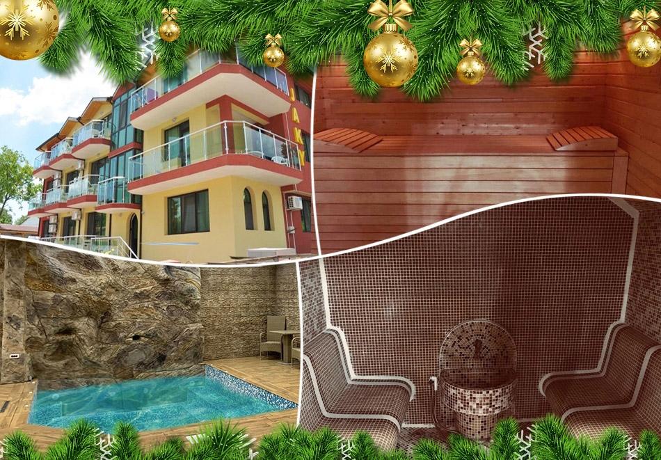 Коледа в Кранево! 2 нощувки на човек със закуски и празнична вечеря + топъл басейн и релакс зона от хотел Жаки