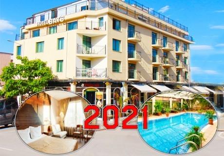 Нова година в хотел Бац****, Петрич! 3 или 4 нощувки на човек със закуски и вечери, едната празнична + топъл минерален басейн и релакс зона