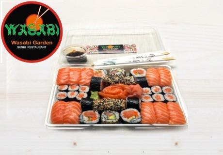 """Суши сет """"Обичам суши със сьомга""""+ Сашими – 38 бр. (1200 гр.) от ресторант Wasabi garden, София"""