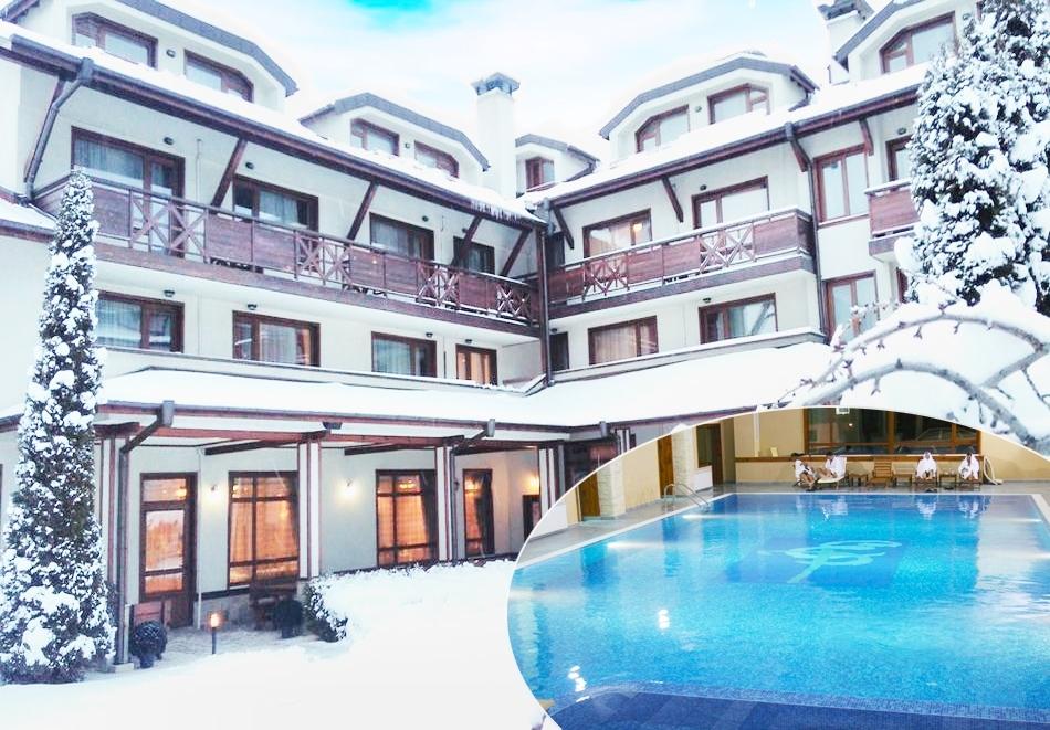 Нощувка на човек със закуска и вечеря + басейн и сауна в хотел Евелина Палас****, Банско