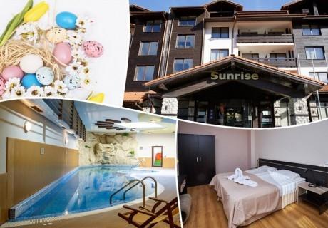 Великден и майски празници в хотел Сънрайз****, Банско! 3+ нощувки на база All Inclusive Light на човек + отопляем закрит басейн и релакс пакет