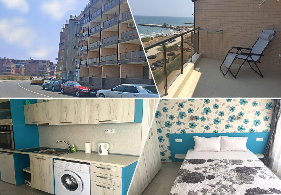 На ПЪРВА линия в Поморие! 3 нощувки с капацитет от два до осем човека в студио или апартамент от Апартхотел Иглика