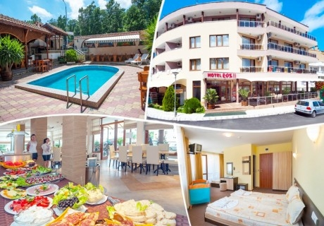 Нощувка на човек със закуска и вечеря + басейн в Хотел ЕОС**, Китен
