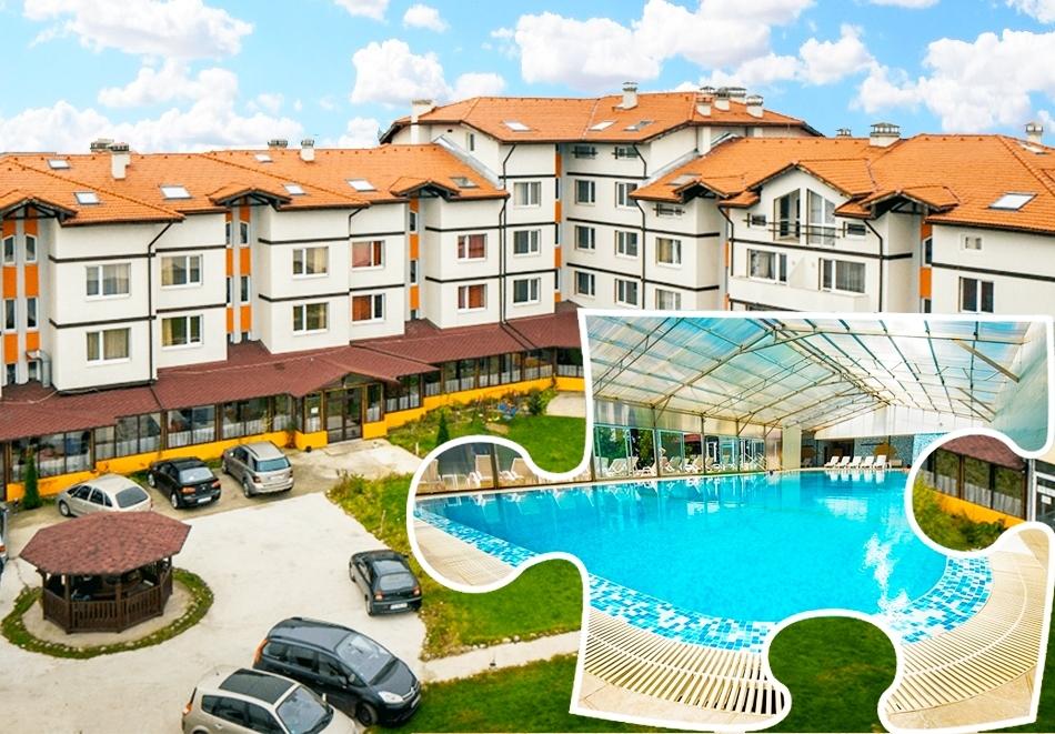 Нощувка на човек със закуска и вечеря + минерален басейн и релакс пакет в хотел Вита Спрингс, с. Баня до Банско