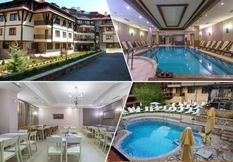 6 нощувки на човек на цената на 5 + закуски и вечери + външен и вътрешен  басейн и релакс зона в хотел Мария Антоанета, Банско