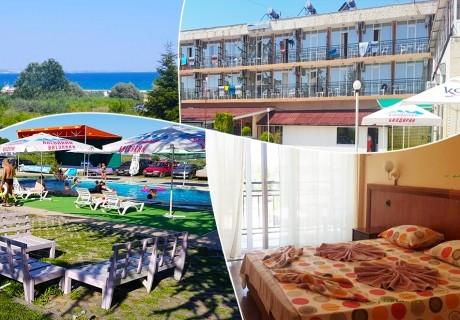 Нощувка на човек със закуска, обяд и вечеря на 100 м. от плажа в хотел ДСК, Кранево