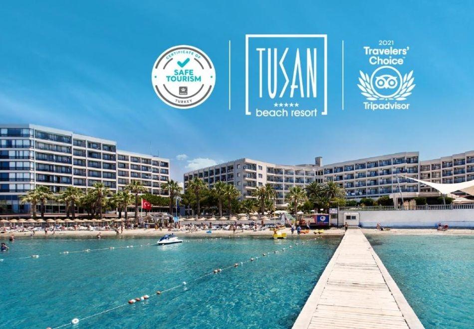 Почивка в TUSAN BEACH RESORT HOTEL 5*, Кушадасъ, Турция през август и септември 2021. Чартърен полет от София + 7 нощувки на човек на база Ultra All Inclusive!