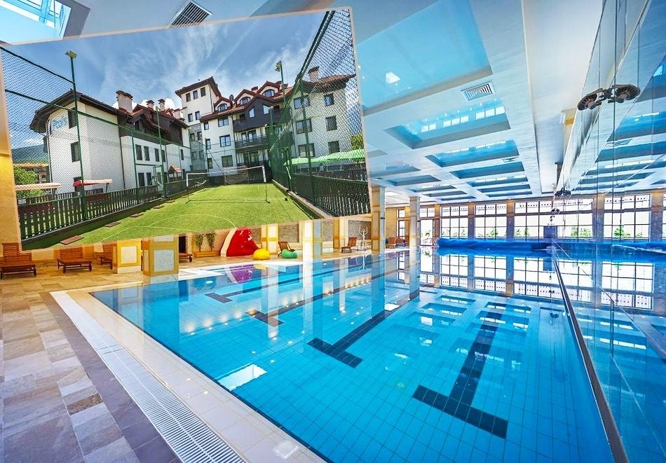 Нощувка на човек със закуска, обяд и вечеря + топъл басейн и СПА зона в хотел 7 Пулс & СПА Апартмънтс, Банско