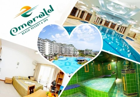 Нощувка на човек със закуска и вечеря + вътрешен басейн и СПА в хотел Емералд Резорт Бийч и СПА*****, Равда