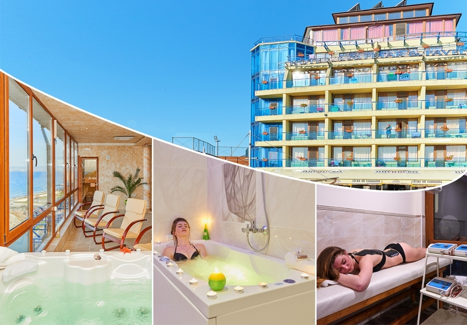Нощувка на човек със закуска, обяд и вечеря + 2 процедури на ден + панорамна термална зона от хотел Св. Св. Петър и Павел***, Поморие