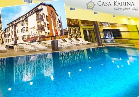Нощувка със закуска и вечеря на човек + басейн и уелнес пакет в Каза Карина****, Банско